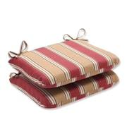 Pillow Perfect Outdoor Dining Chair Cushion (Set of 2); Red/Gold Striped