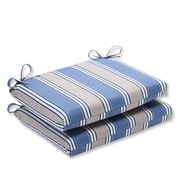 Pillow Perfect Outdoor Dining Chair Cushion (Set of 2); Blue/Tan Striped