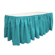 LA Linen Burlap Table Skirt; Turquoise