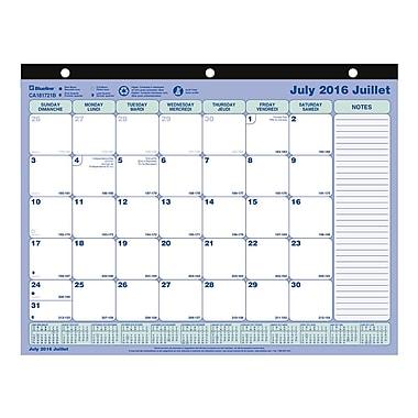 Blueline® - Calendrier sous-main mensuel scolaire 2016-2017