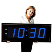 Big Time Clocks Giant 8'' Numbers LED Wall Clock w/ Remote Control; Blue