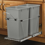 Rev-A-Shelf Double 6.7 Gallon Roll Out Waste Container; Metallic Silver