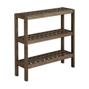 New Ridge Home Goods Beaumont Solid Birch Wood 3-Shelf Console / Shoe Rack; Antique Chestnut