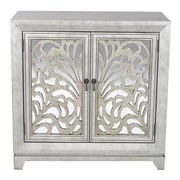 Heather Ann 2 Door Accent Cabinet; Silver