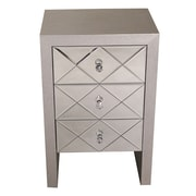 Heather Ann 3 Drawer Accent Chest; Silver