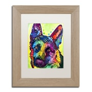"Trademark Fine Art ''German Shepherd'' by Dean Russo 11"" x 14"" White Matted Wood Frame (ALI0238-T1114MF)"