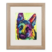"Trademark Fine Art ''German Shepherd'' by Dean Russo 16"" x 20"" White Matted Wood Frame (ALI0238-T1620MF)"