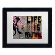 "Trademark Fine Art ''Life is Beautiful'' by Banksy  11"" x 14"" White Matted Black Frame (ALI1236-B1114MF)"
