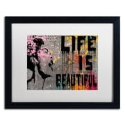 "Trademark Fine Art ''Life is Beautiful'' by Banksy  16"" x 20"" White Matted Black Frame (ALI1236-B1620MF)"
