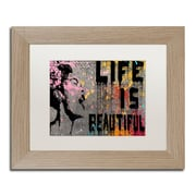 "Trademark Fine Art ''Life is Beautiful'' by Banksy  11"" x 14"" White Matted Wood Frame (ALI1236-T1114MF)"