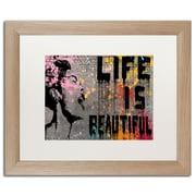 "Trademark Fine Art ''Life is Beautiful'' by Banksy  16"" x 20"" White Matted Wood Frame (ALI1236-T1620MF)"