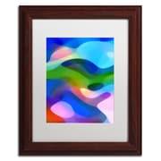 """Trademark Fine Art ''Dappled Light 8 Blue'' by Amy Vangsgard  11"""" x 14"""" White Matted Wood Frame (AV0106-W1114MF)"""