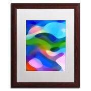 """Trademark Fine Art ''Dappled Light 8 Blue'' by Amy Vangsgard  16"""" x 20"""" White Matted Wood Frame (AV0106-W1620MF)"""