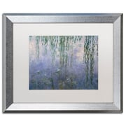 """Trademark Fine Art ''Water Lilies III 1840-1926'' by Claude Monet 16"""" x 20"""" White Matted Silver Frame (BL01465-S1620MF)"""