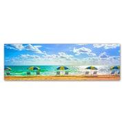 "Trademark Fine Art ''Florida Beach Chairs Umbrellas'' by Preston 10"" x 32"" Canvas Art (EM0519-C1032GG)"