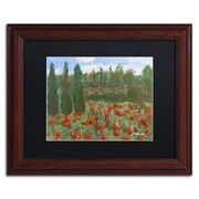 "Trademark Fine Art ''Red Poppies in the Wood'' by Manor Shadian 11"" x 14"" Black Matted Wood Frame (MA0624-W1114BMF)"