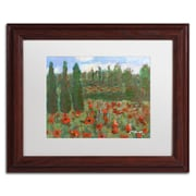 """Trademark Fine Art ''Red Poppies in the Wood'' by Manor Shadian 11"""" x 14"""" White Matted Wood Frame (MA0624-W1114MF)"""