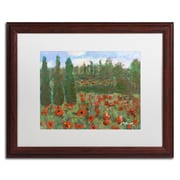 "Trademark Fine Art ''Red Poppies in the Wood'' by Manor Shadian 16"" x 20"" White Matted Wood Frame (MA0624-W1620MF)"