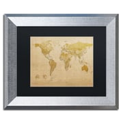 "Trademark Fine Art ''Antique World Map'' by Michael Tompsett 11"" x 14"" Black Matted Silver Frame (MT0001-S1114BMF)"
