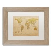 "Trademark Fine Art ''Antique World Map'' by Michael Tompsett 11"" x 14"" White Matted Wood Frame (MT0001-T1114MF)"