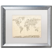 "Trademark Fine Art ''Music Note World Map'' by Michael Tompsett 16"" x 20"" White Matted Silver Frame (MT0003-S1620MF)"