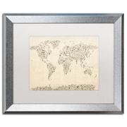 "Trademark Fine Art ''Music Note World Map'' by Michael Tompsett 16"" x 20"" White Matted Silver Frame (MT0003-S1620MF)"