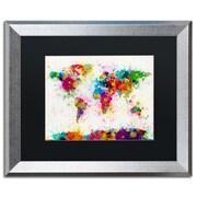 "Trademark Fine Art ''Paint Splashes World Map'' by Michael Tompsett 16"" x 20"" Black Matted Silver Frame (MT0005-S1620BMF)"