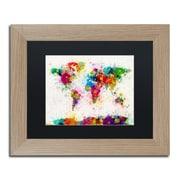 "Trademark Fine Art ''Paint Splashes World Map'' by Michael Tompsett 11"" x 14"" Black Matted Wood Frame (MT0005-T1114BMF)"