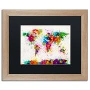 "Trademark Fine Art ''Paint Splashes World Map'' by Michael Tompsett 16"" x 20"" Black Matted Wood Frame (MT0005-T1620BMF)"