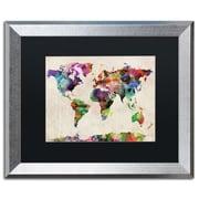 "Trademark Fine Art ''Urban Watercolor World Map'' by Michael Tompsett 16"" x 20"" Black Matted Silver Frame (MT0013-S1620BMF)"