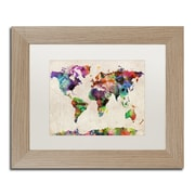 "Trademark Fine Art ''Urban Watercolor World Map'' by Michael Tompsett 11"" x 14"" White Matted Wood Frame (MT0013-T1114MF)"