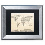 "Trademark Fine Art ''Old Sheet Music World Map'' by Michael Tompsett 11"" x 14"" Silver Frame (MT0016-S1114BMF)"