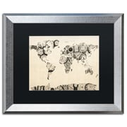 "Trademark Fine Art ''Old Clocks World Map'' by Michael Tompsett 16"" x 20"" Black Matted Silver Frame (MT0025-S1620BMF)"
