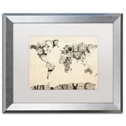 "Trademark Fine Art ''Old Clocks World Map'' by Michael Tompsett 16"" x 20"" White Matted Silver Frame (MT0025-S1620MF)"