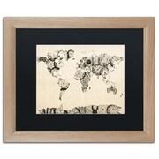 "Trademark Fine Art ''Old Clocks World Map'' by Michael Tompsett 16"" x 20"" Black Matted Wood Frame (MT0025-T1620BMF)"