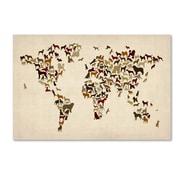 """Trademark Fine Art ''World Map of Dogs'' by Michael Tompsett 16"""" x 24"""" Canvas Art (MT0730-C1624GG)"""