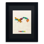 "Trademark Fine Art ''Panama Watercolor Map'' by Michael Tompsett 11"" x 14"" Black Matted Black Frame (MT0747-B1114BMF)"