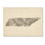 "Trademark Fine Art ''Old Sheet Music Map of Tennessee'' by Michael Tompsett 24"" x 32"" Canvas (MT0758-C2432GG)"