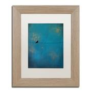 """Trademark Fine Art ''Lone Bird Blue'' by Nicole Dietz 11"""" x 14"""" White Matted Wood Frame (ND073-T1114MF)"""