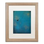 """Trademark Fine Art ''Lone Bird Blue'' by Nicole Dietz 16"""" x 20"""" White Matted Wood Frame (ND073-T1620MF)"""
