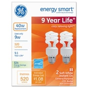 GE Compact Fluorescent Bulb, 9 Watts, Spiral, Soft White, 6/pack
