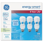 GE Energy Smart Spiral CFL, 13W, 4PK/CT