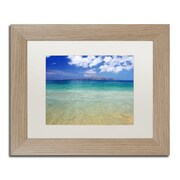 "Trademark Fine Art ''Hawaii Blue Beach'' by Pierre Leclerc 11"" x 14"" White Matted Wood Frame (PL0038-T1114MF)"