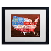 "Trademark Fine Art ''USA Flag Map'' by Design Turnpike 16"" x 20"" White Matted Black Frame (ALI1244-B1620MF)"