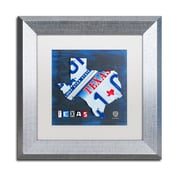 """Trademark Fine Art ''Texas License Plate Map'' by Design Turnpike 11"""" x 11"""" White Matted Silver Frame (ALI1255-S1111MF)"""