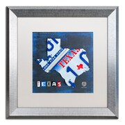 """Trademark Fine Art ''Texas License Plate Map'' by Design Turnpike 16"""" x 16"""" White Matted Silver Frame (ALI1255-S1616MF)"""