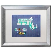 "Trademark Fine Art ''Massachusetts License Plate'' by Design Turnpike 16"" x 20"" White Matted Silver Frame (ALI1273-S1620MF)"