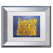 "Trademark Fine Art ''Oregon License Plate Map'' by Design Turnpike 11"" x 14"" White Matted Silver Frame (ALI1295-S1114MF)"