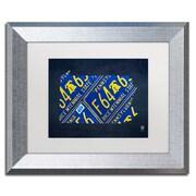 "Trademark Fine Art ''Pennsylvania License Plate Map'' by Design Turnpike 11"" x 14"" White Matted Silver Frame (ALI1296-S1114MF)"