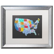 "Trademark Fine Art ''Massive USA License Plate Map'' by Design Turnpike 16"" x 20"" White Matted Silver Frame (ALI1306-S1620MF)"